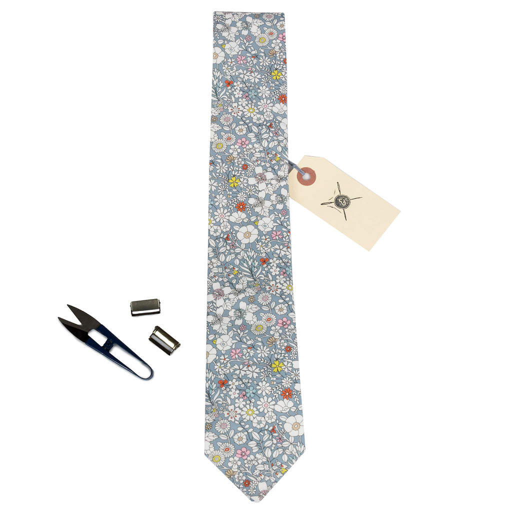 Grey liberty fabric floral necktie made in Canada by Cursor & Thread
