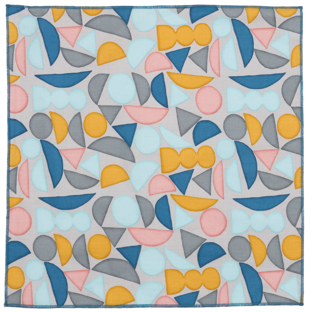 Abstract Shapes Blue Cotton Pocket Square Made in Canada