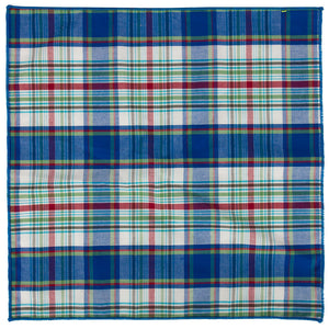 Blue plaid pocket square