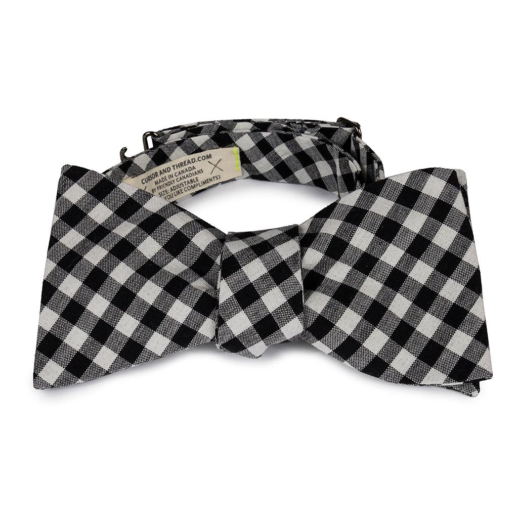Ceremony Bali Back and White Check Cotton Bow Tie Made in Canada