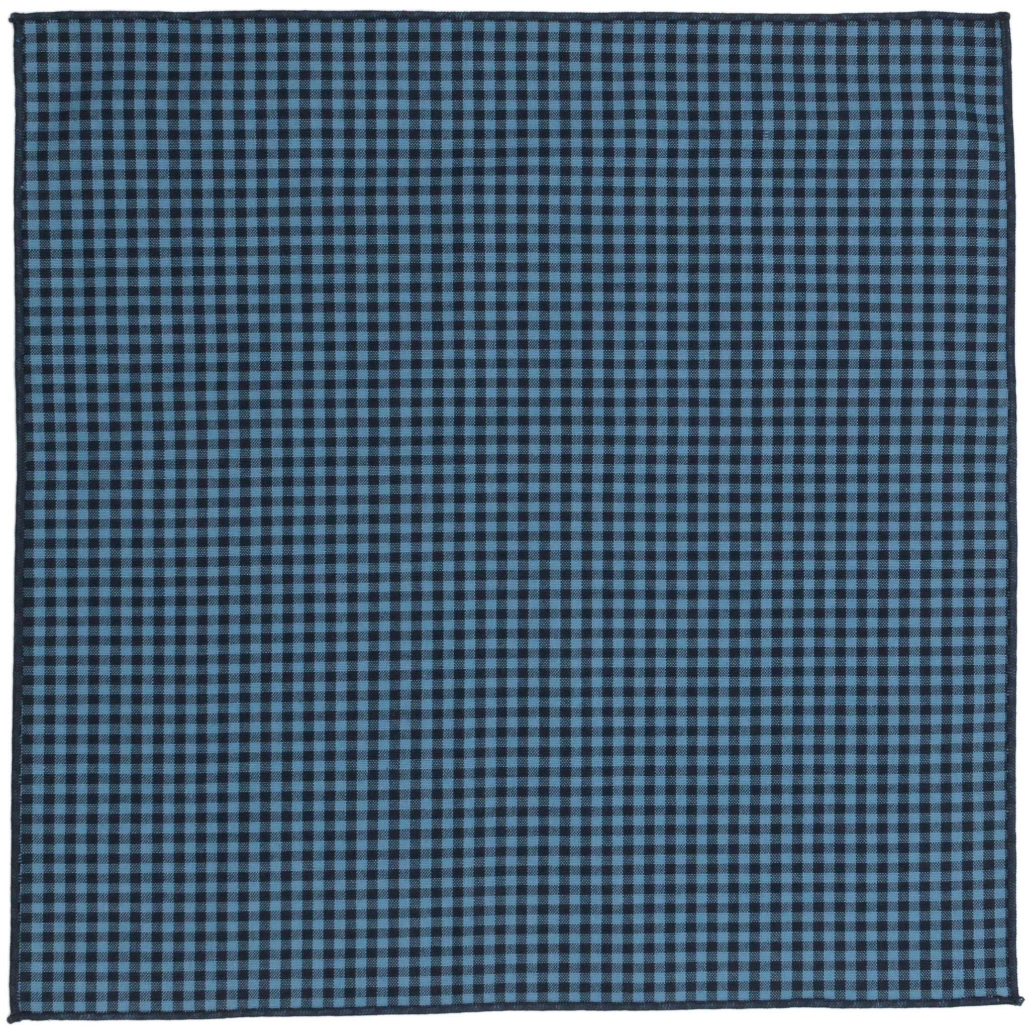 Charlie Blue Gingham Cotton Pocket Square Made in Canada