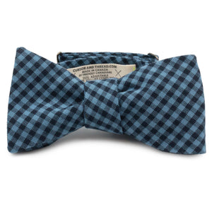 Charlie Blue Gingham Cotton Bow Tie Made in Canada by Cursor & Thread