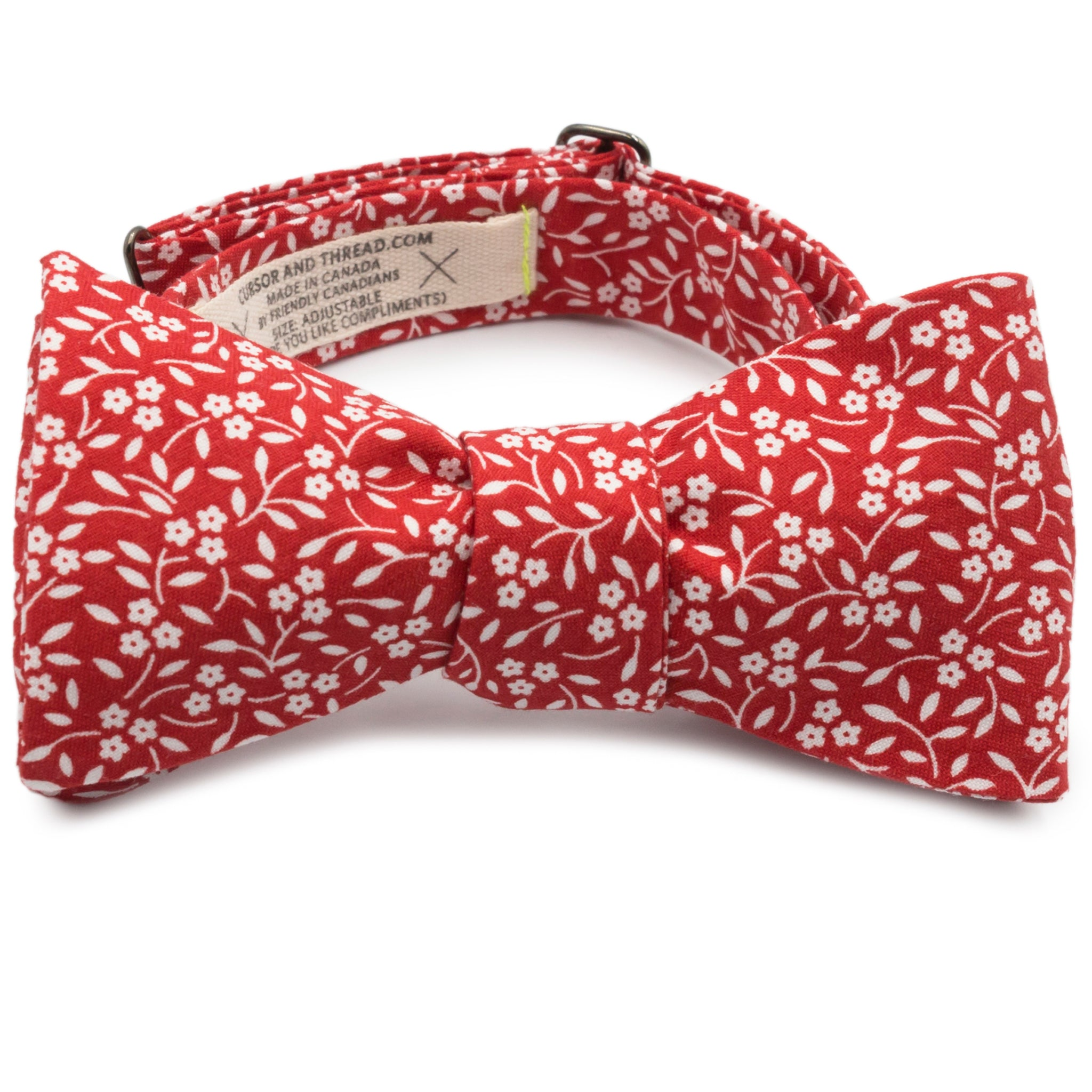 Charmed Red and White Floral Cotton Bow Tie Made in Canada