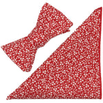 Charmed Red and White Floral Cotton Bow Tie & Pocket Square Made in Canada