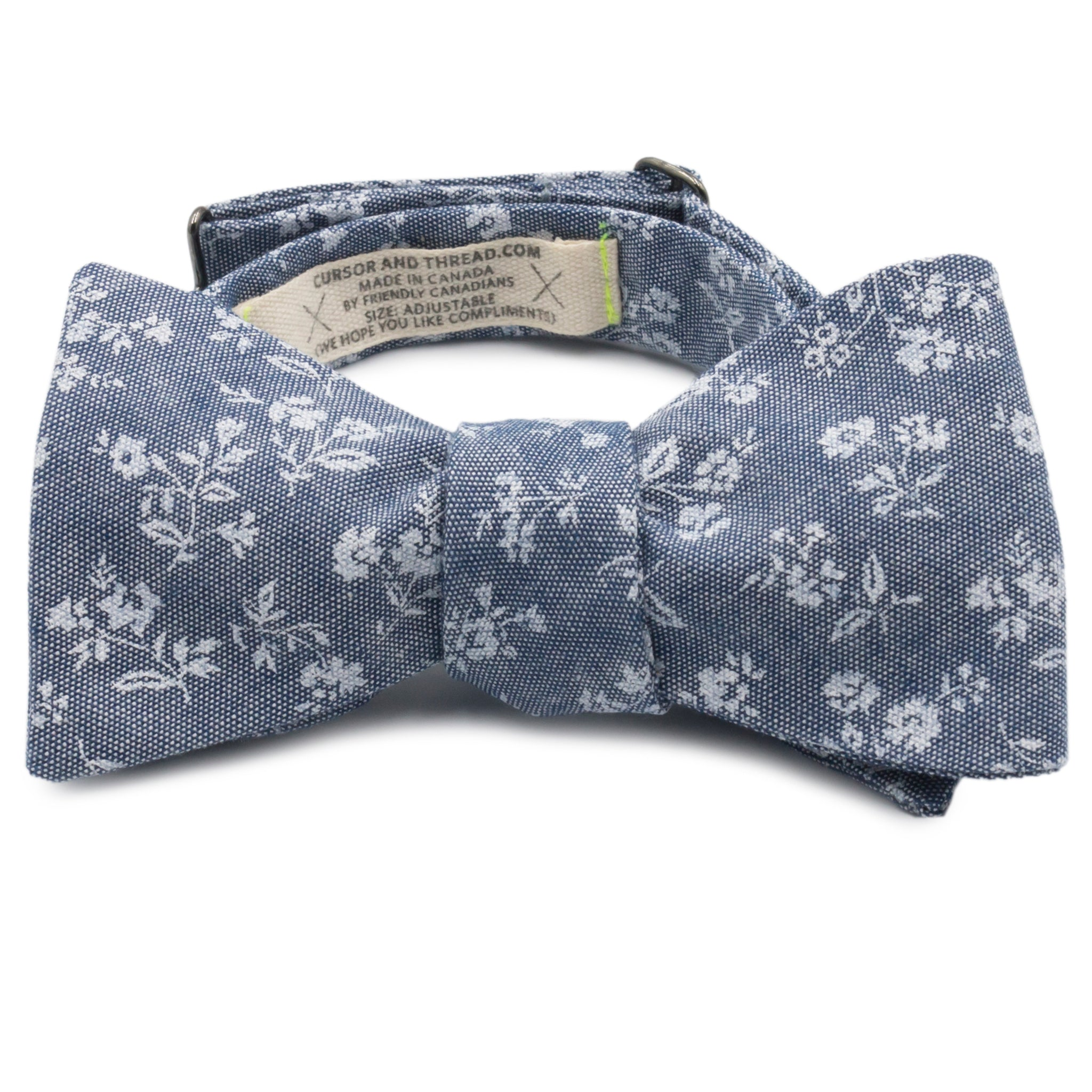 Chintz Floral Print on Grey Cotton Chambray Bow Tie Made in Canada