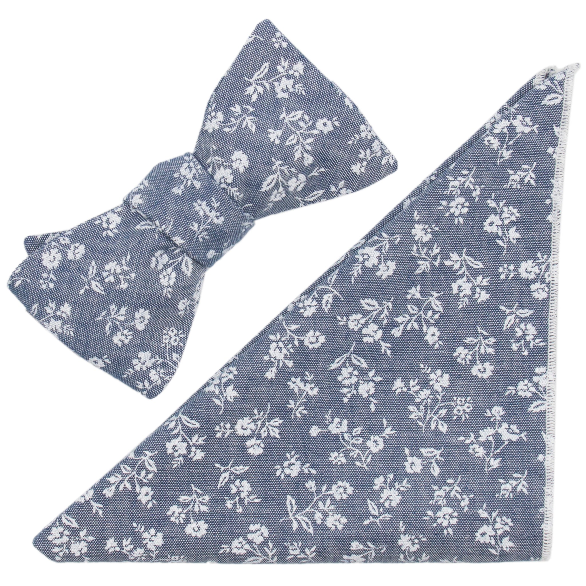 Chintz Floral Print on Grey Cotton Chambray Bow Tie & Pocket Square Made in Canada