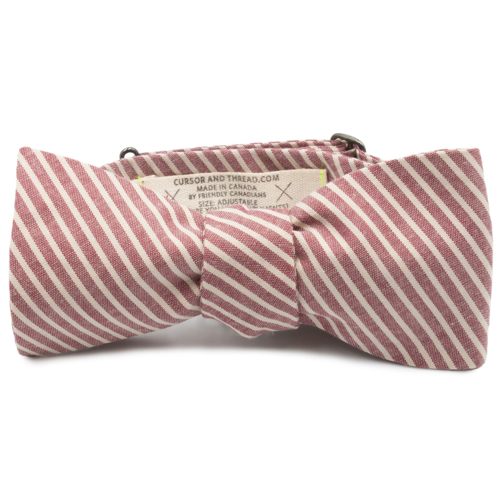 Collins Striped Chambray Cotton Bow Tie Made in Canada