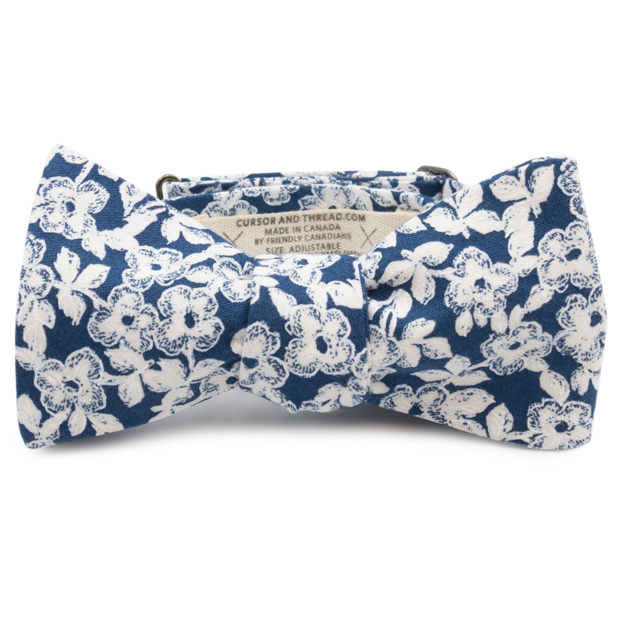 Dogwood Floral White and Blue Cotton Bow Tie Made in Canada by Cursor & Thread