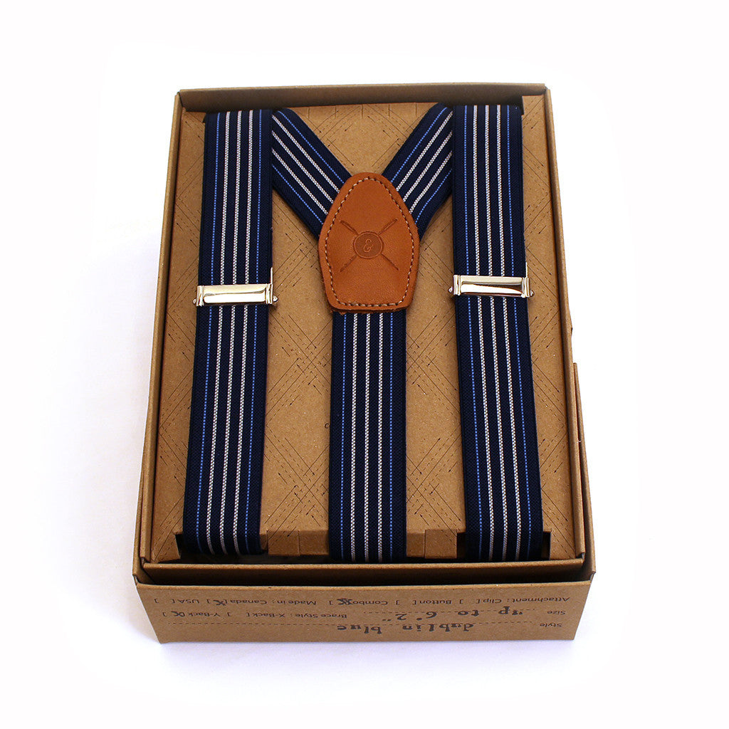 Blue striped braces suspenders