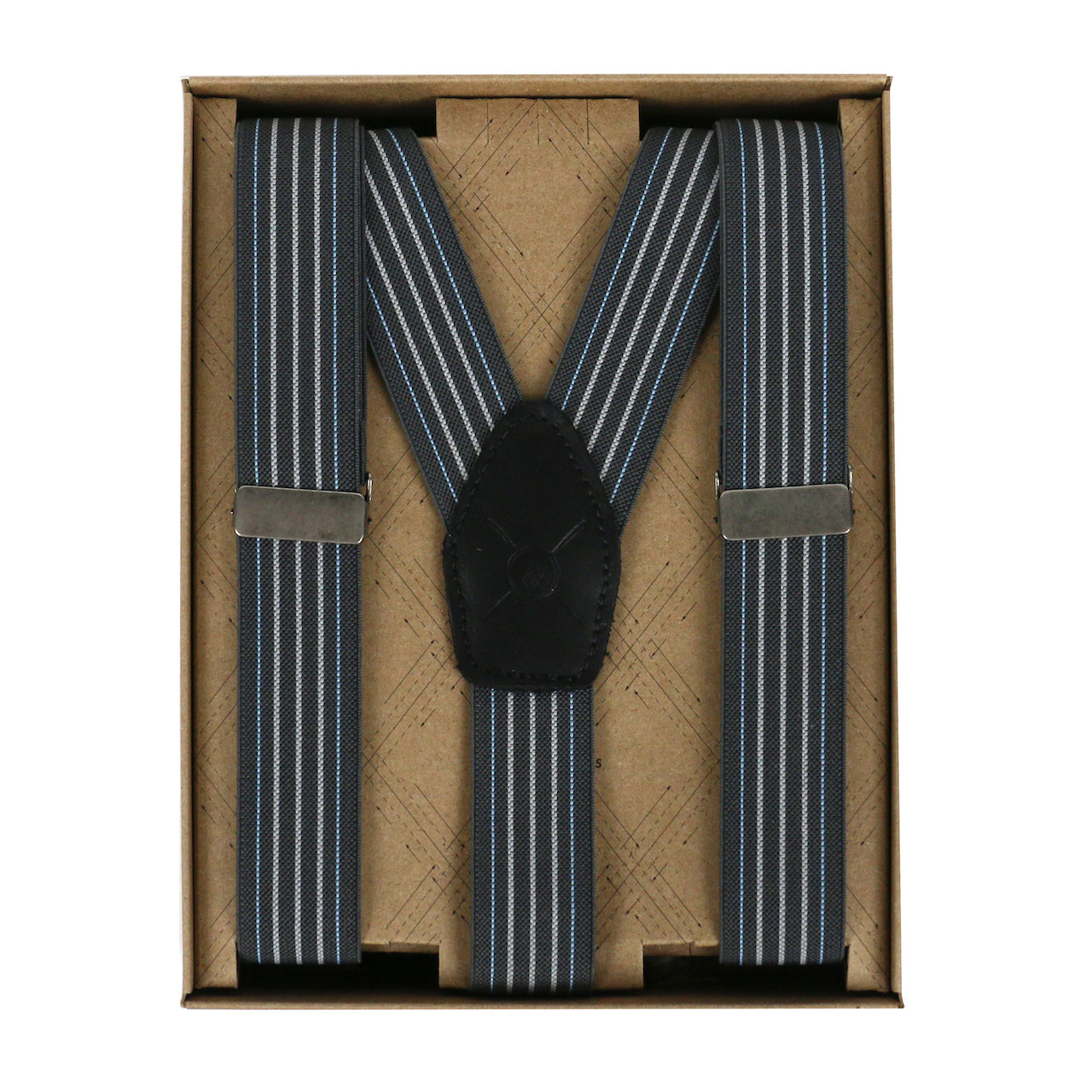 "Dublin 1"" Grey Stripe Suspenders, Made in Canada"