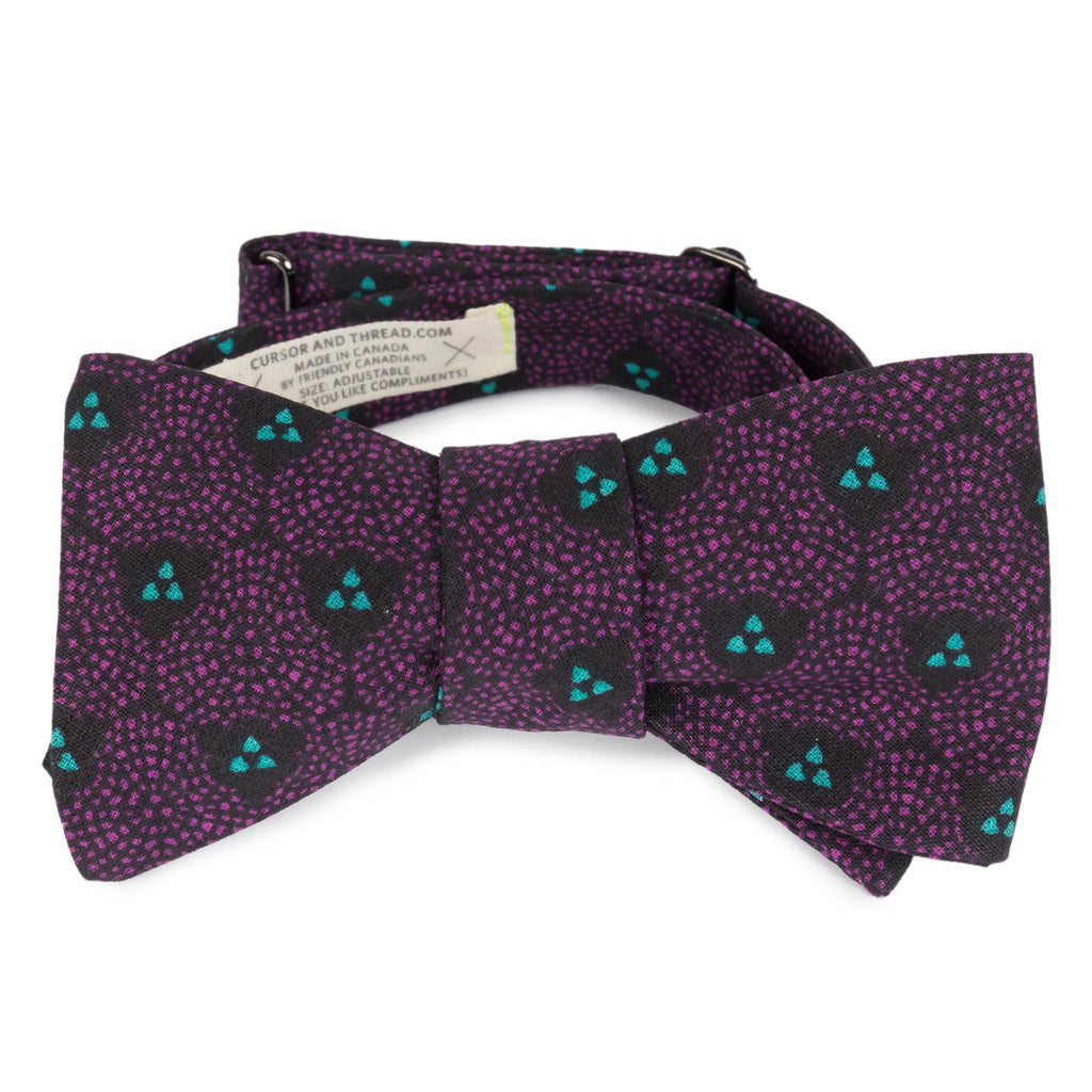 Eddie Fuschia and Black French Cotton Bow Tie Made in Canada by Cursor & Thread