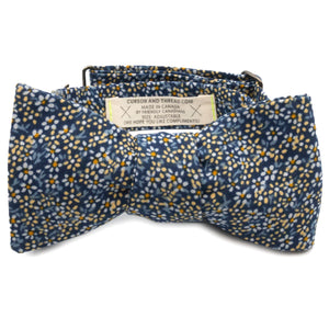 Empire Blue Floral Cotton Bow Tie Made in Canada by Cursor & Thread