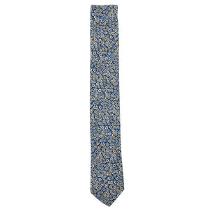 Empire Blue Floral Cotton Neck Tie Made in Canada by Cursor & Thread