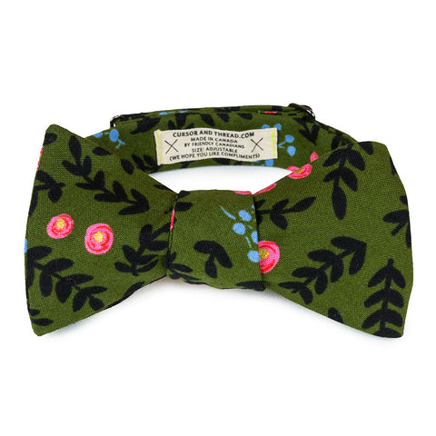 army green floral bow tie