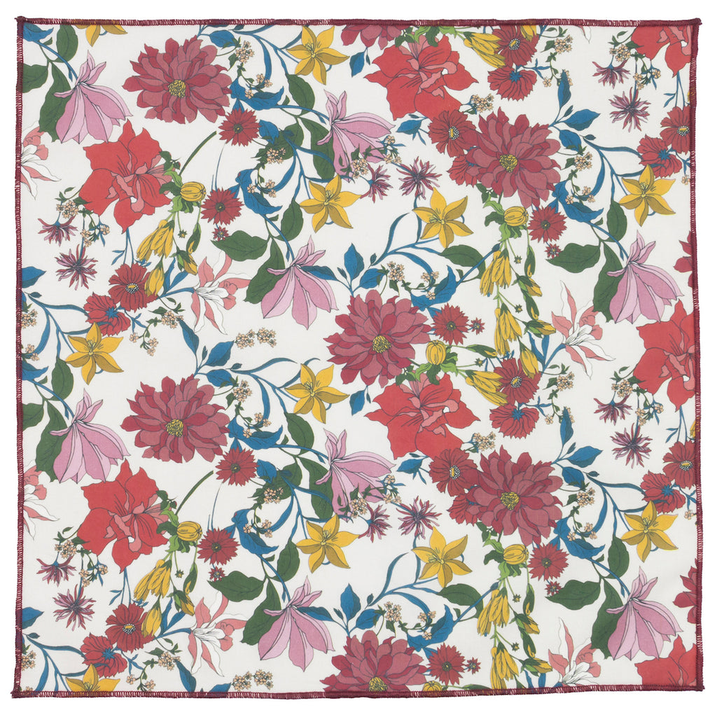 "Franke Liberty Floral Cotton 12"" x 12"" Pocket Square Made in Canada"