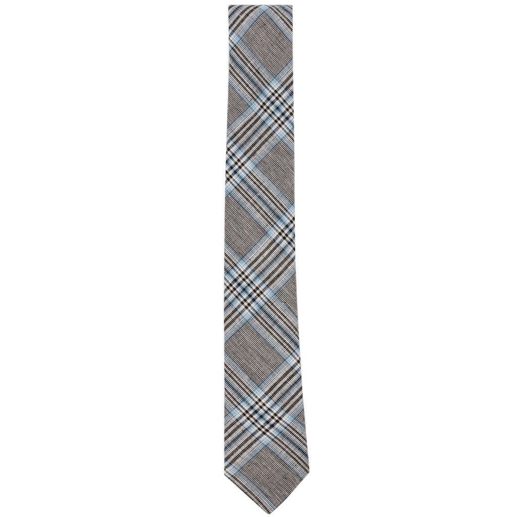 Georgio Black and Blue Woven Plaid Necktie Made in Canada