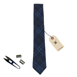 Hackney Flannel Black and Blue Plaid Cotton Neck Tie Made in Canada