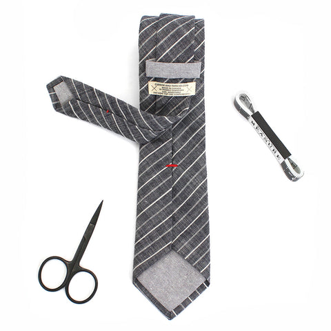 Grey striped necktie made in Canada
