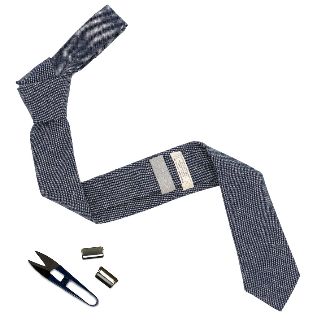 Hatch Linen Navy Check Necktie Made in Canada