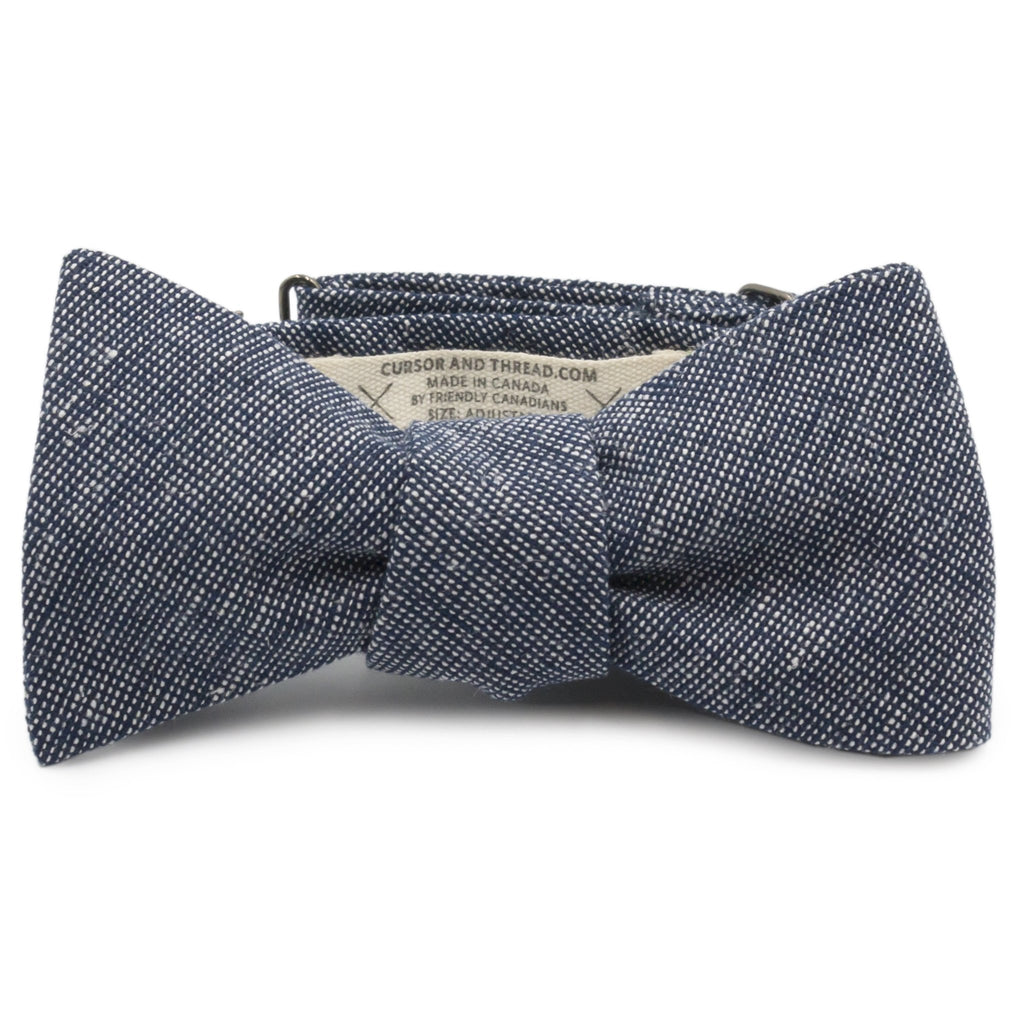 Hatch Navy Cotton Linen Bow Tie Made in Canada by Cursor & Thread