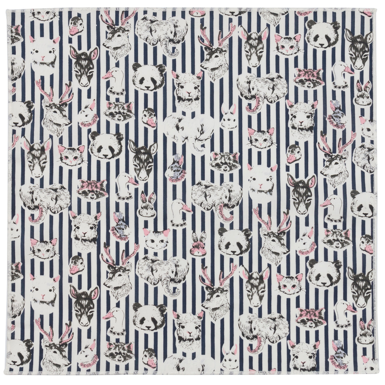Animals Portraits with Navy Striped Cotton Pocket Square Made in Canada
