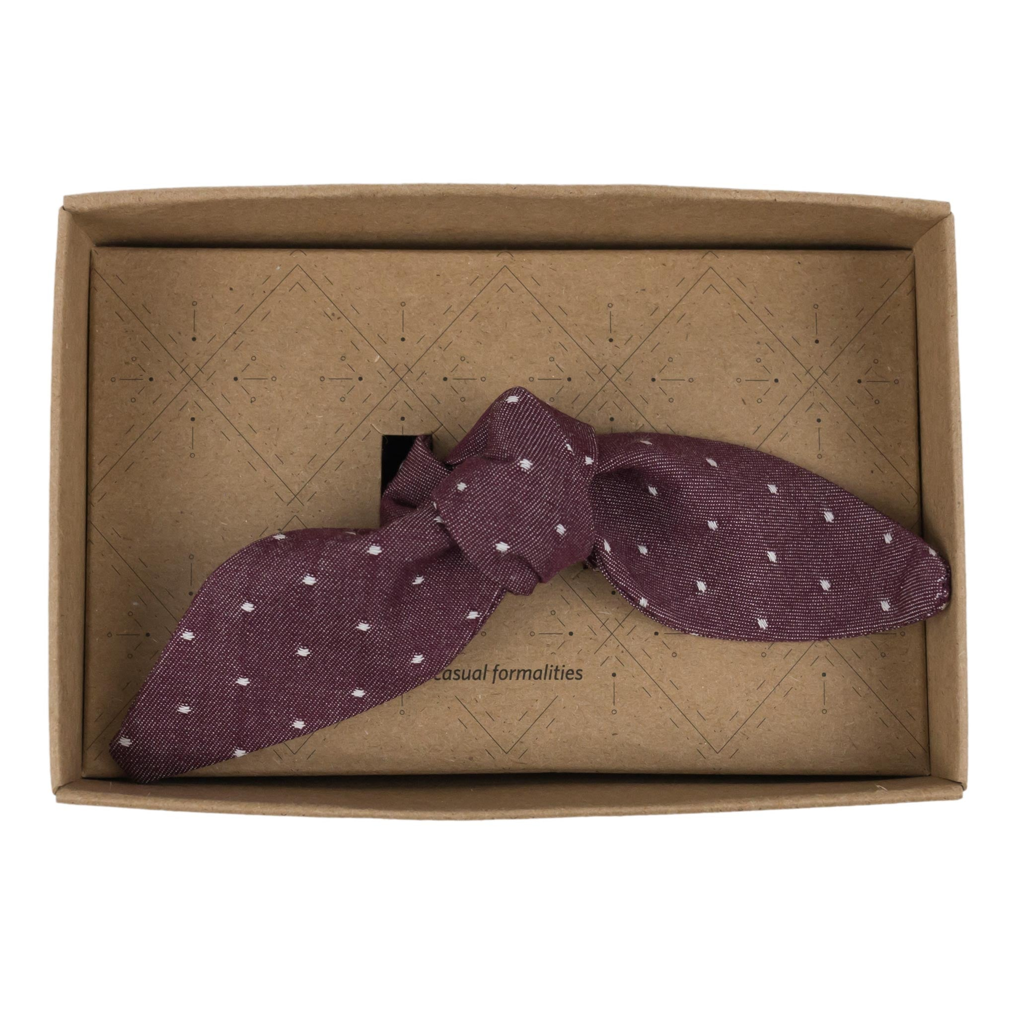 Henry Burgundy Chambray Cotton French Knot Bow Tie Made in Canada