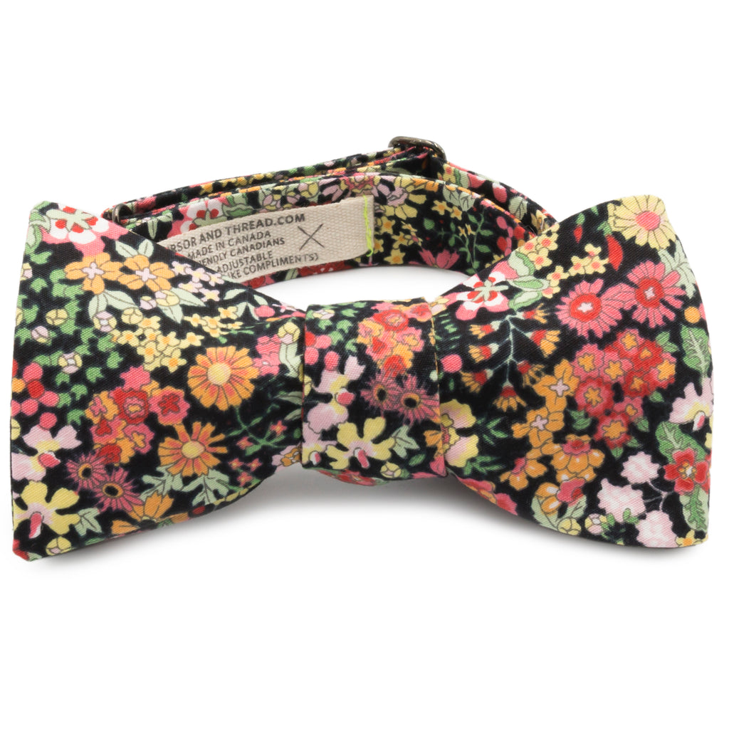 Ikebana Floral Print on Black Japanese Cotton Bow Tie Made in Canada