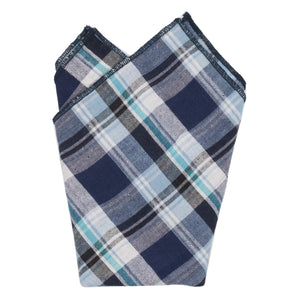 JAR Blue and White Plaid Cotton Pocket Square Made in Canada