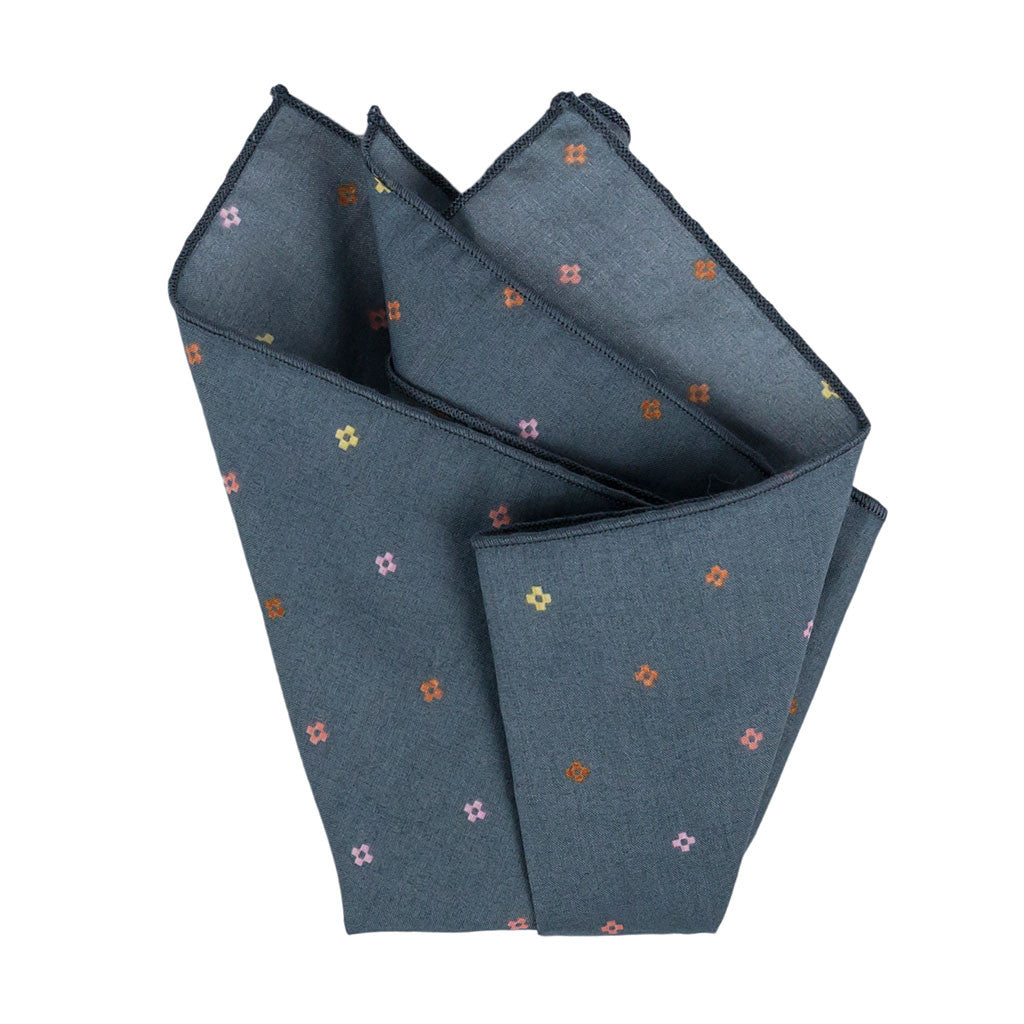 Grey Pixel Floral Pocket Square