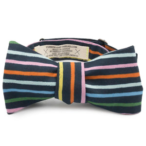 Kriss Kross Multi-stripe Bow Tie Made in Canada by Cursor & Thread