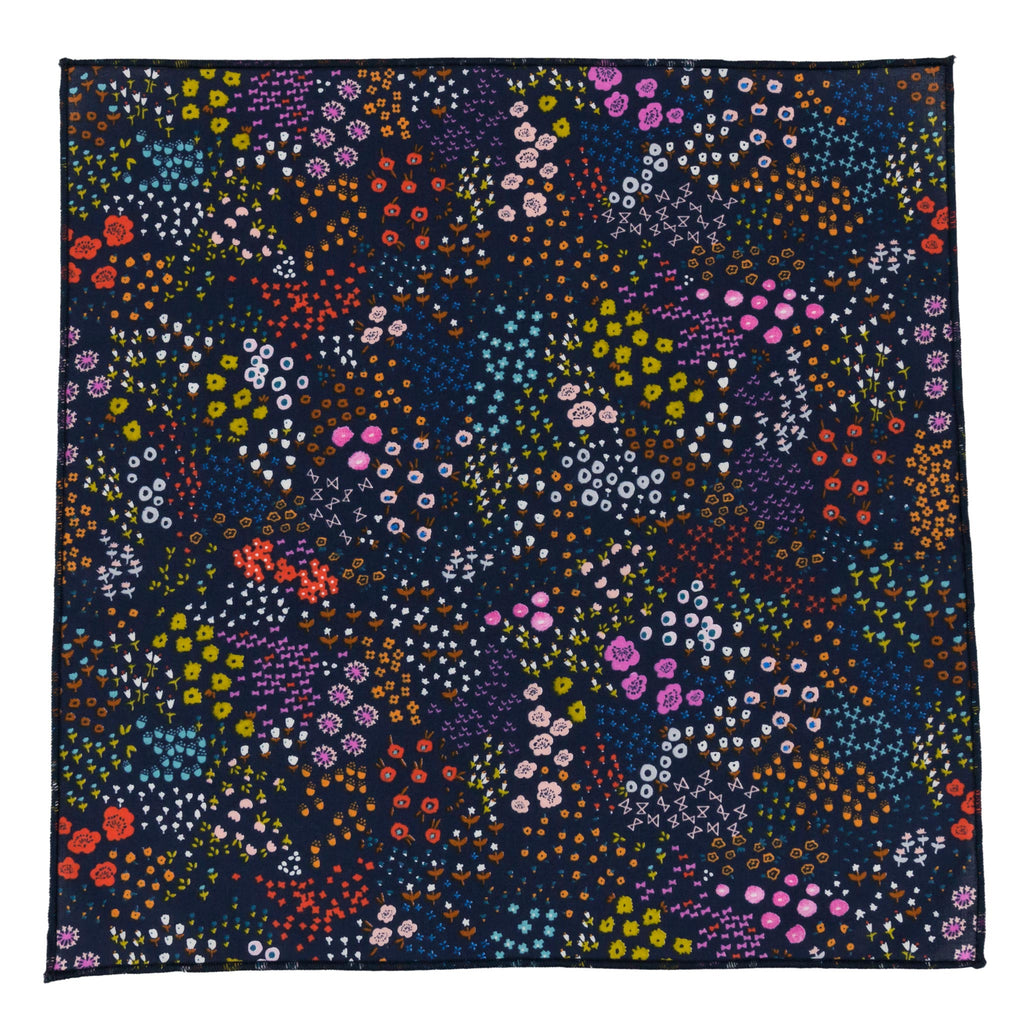 Lantana Navy Floral Lightweight Smooth Cotton Pocket Square Made in Canada