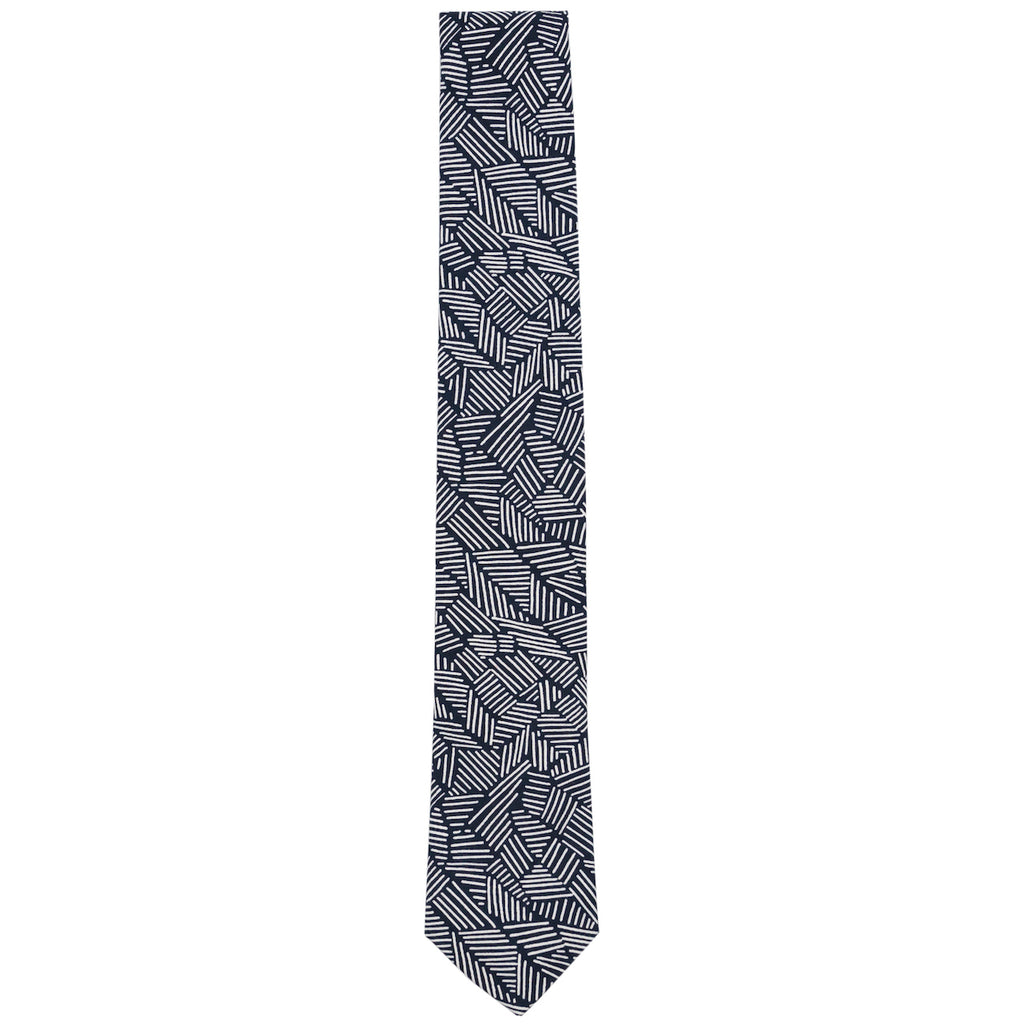 Lino Navy and White Organic Cotton Necktie Made in Canada