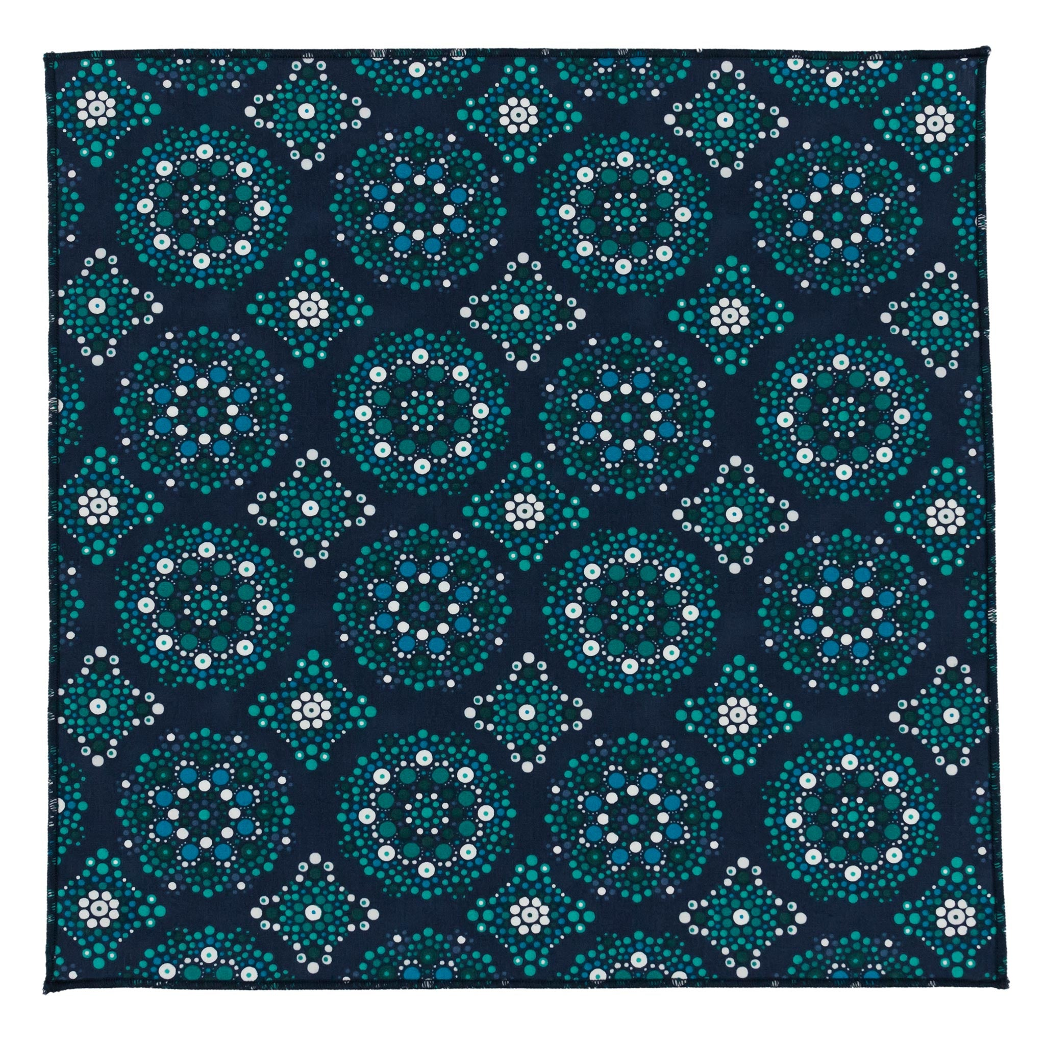 Green Navy Mandala Cotton Pocket Square Made in Canada