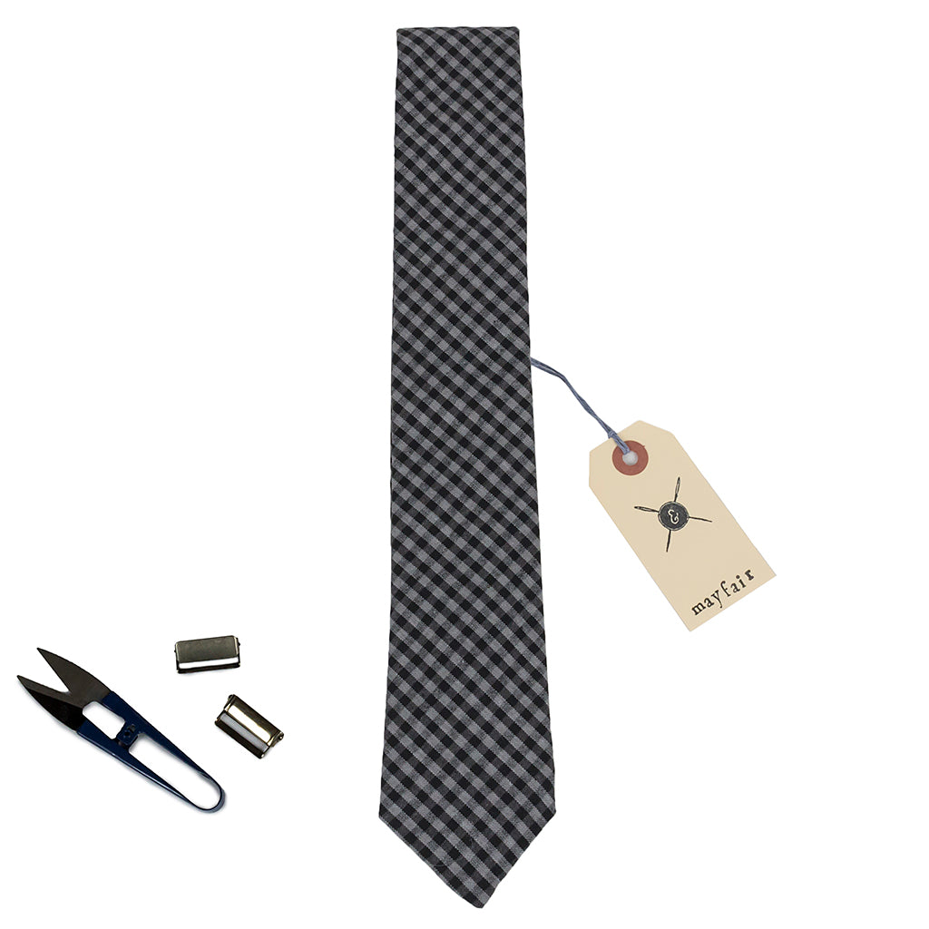 Mayfair Check Grey and Black Cotton Neck Tie Made in Canada
