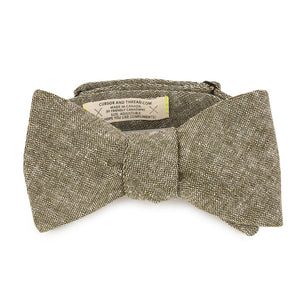 Olive Linen Bow Tie