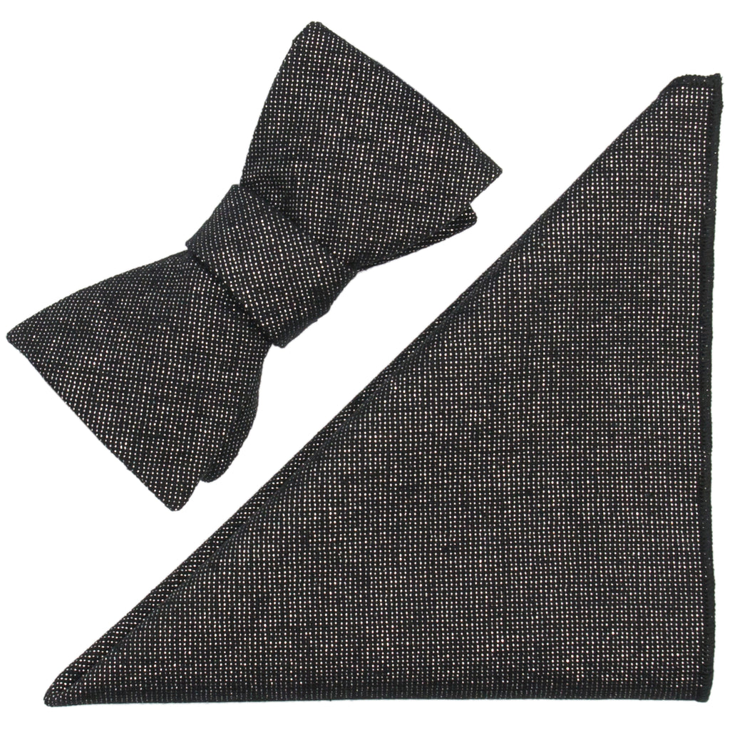 Metallic Linen Blend Bow Tie & Pocket Square Made in Canada