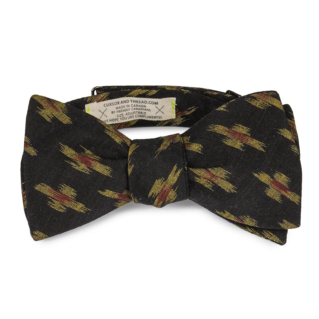 Raya Black and Gold Ikat Bow Tie Made in Canada
