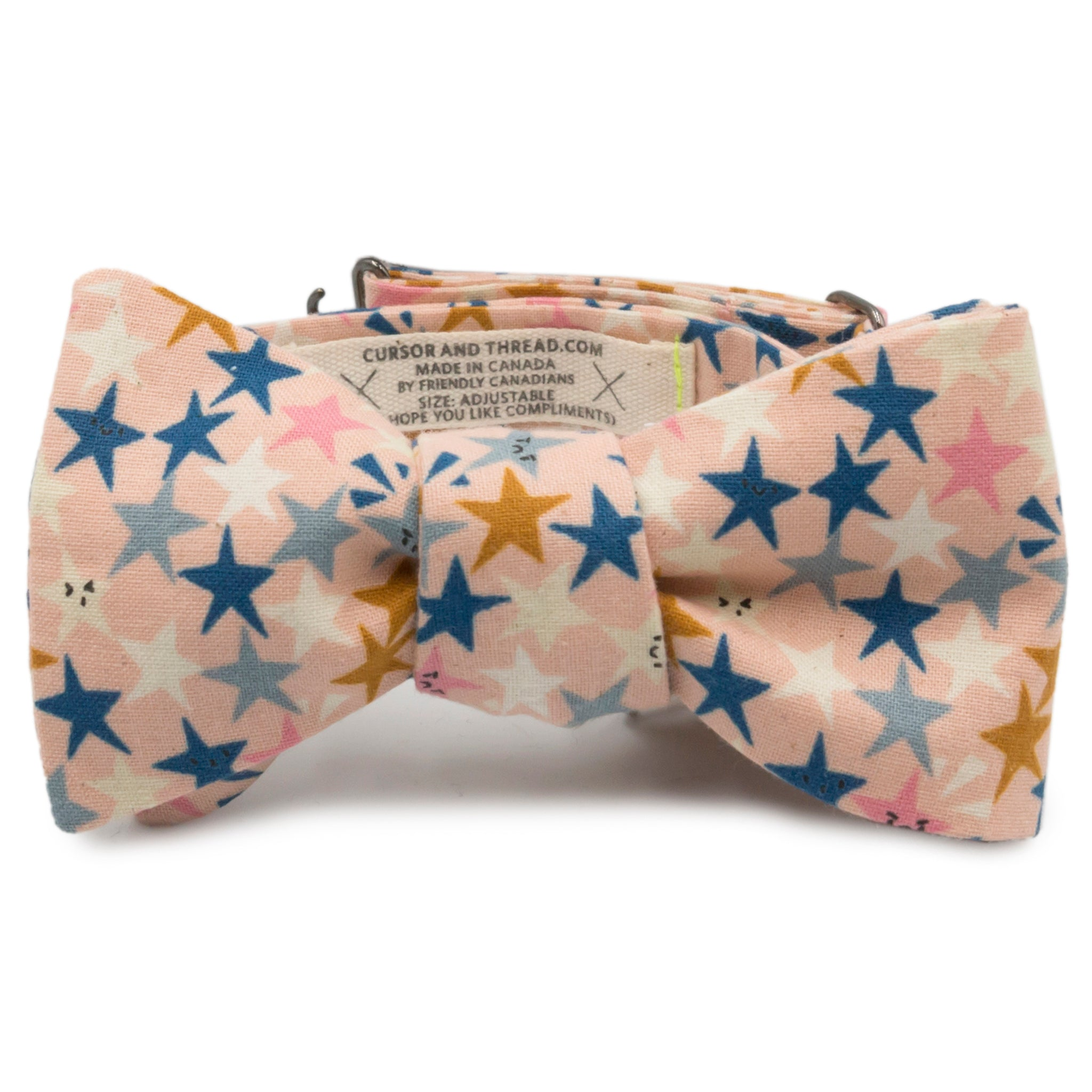 StarFace Pink Cotton Bow Tie Made in Canada by Cursor & Thread