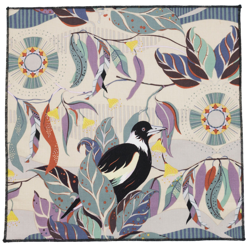 Talisman Bird and Feather Cotton Pocket Square Made in Canada