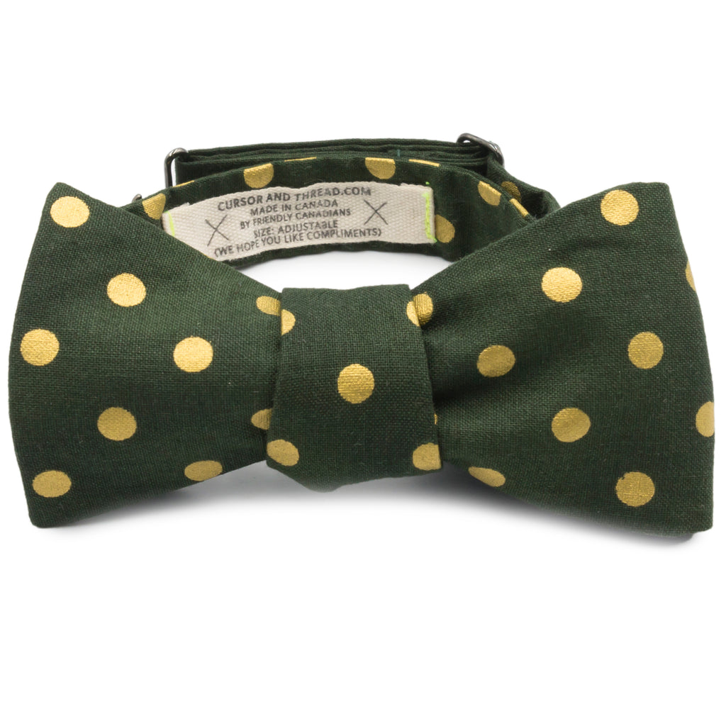 Green & Metallic Gold Polka Dot Cotton Bow Tie Made in Canada