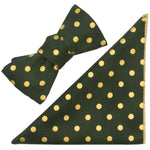 Green & Metallic Gold Polka Dot Cotton Bow Tie and Pocket Square Made in Canada