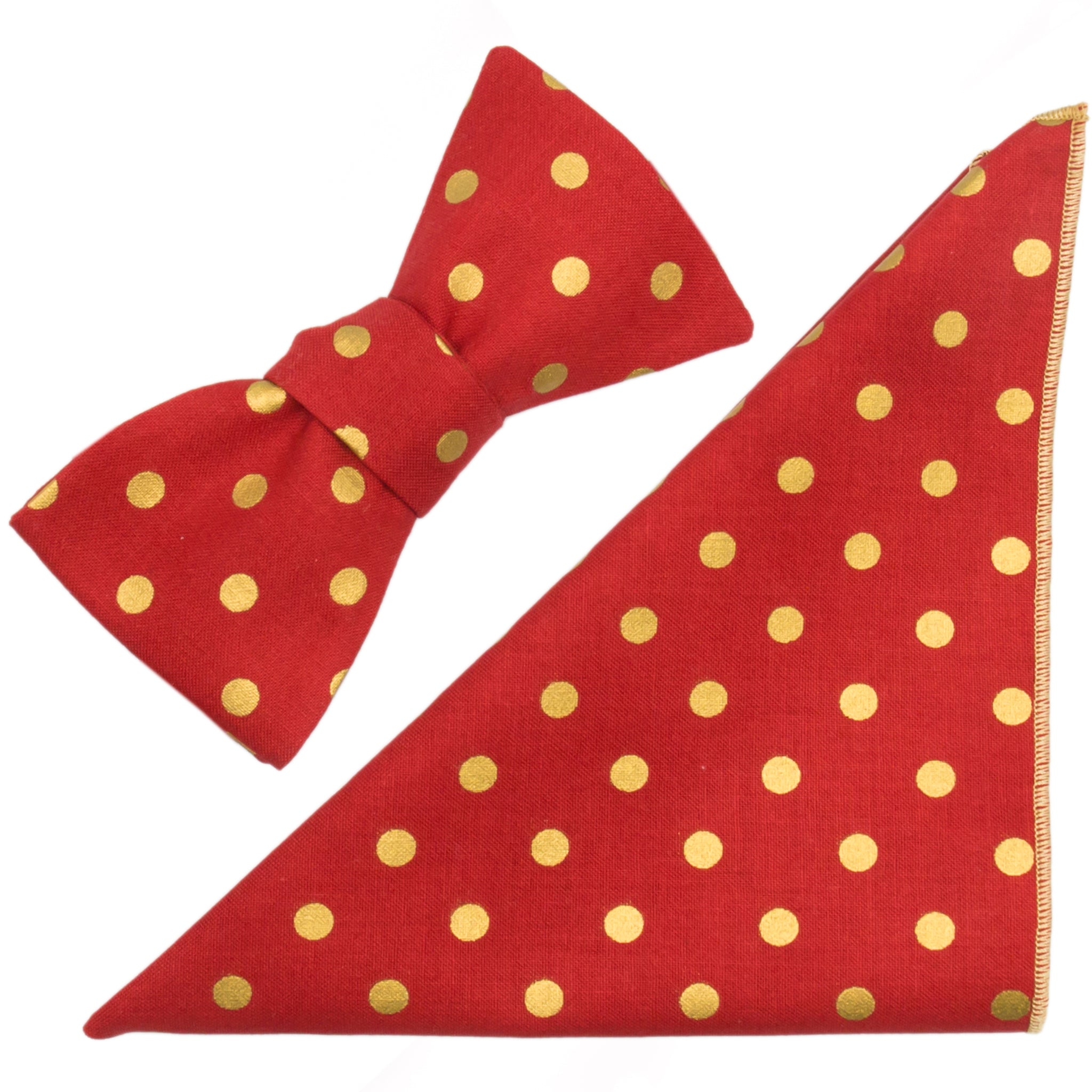 Red & Metallic Gold Polka Dot Cotton Bow Tie and Pocket Square Made in Canada