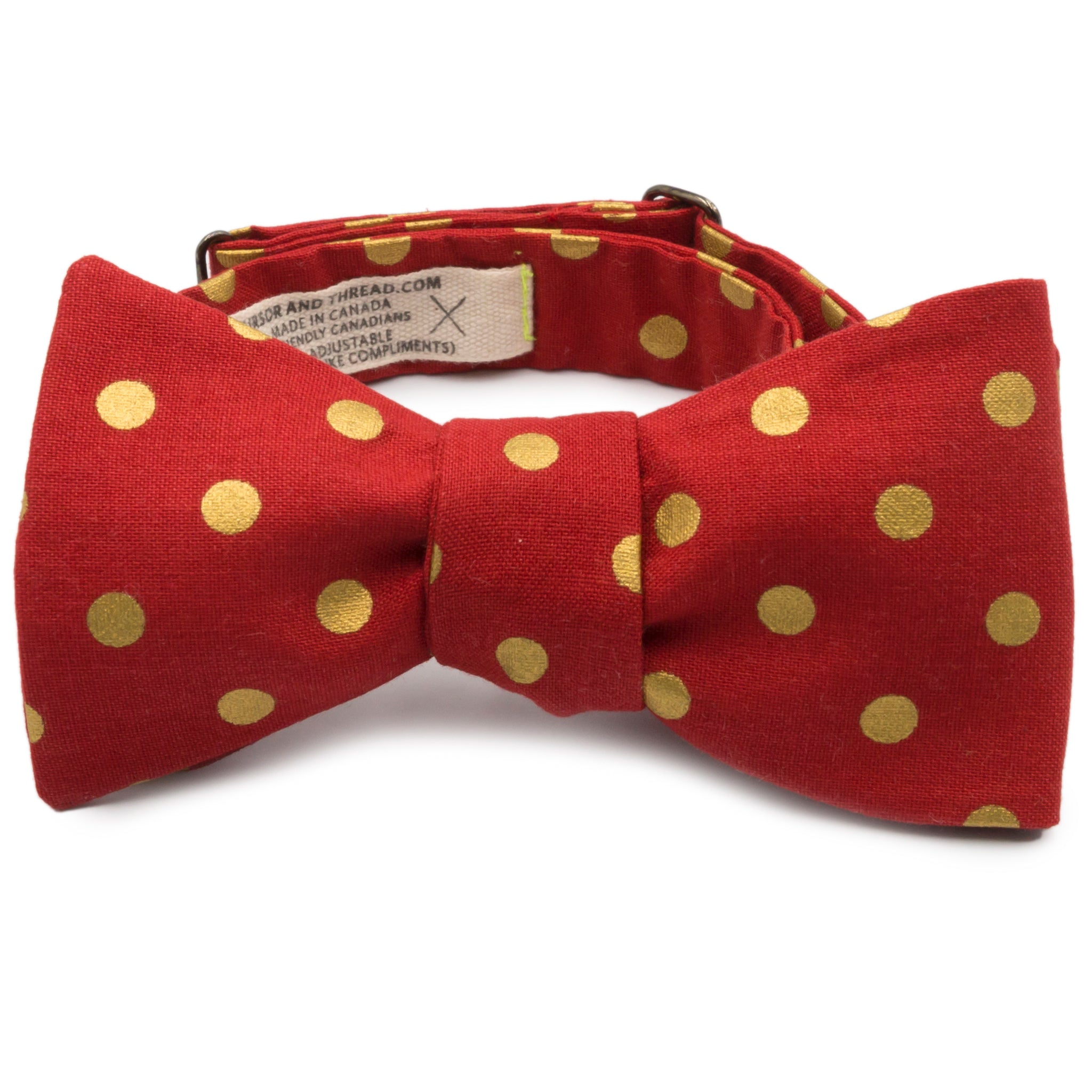 Red Cotton Bow Tie with Metallic Gold Dots Made in Canada