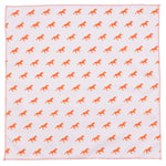 Unicorn Orange and Pink Cotton Pocket Square Made in Canada