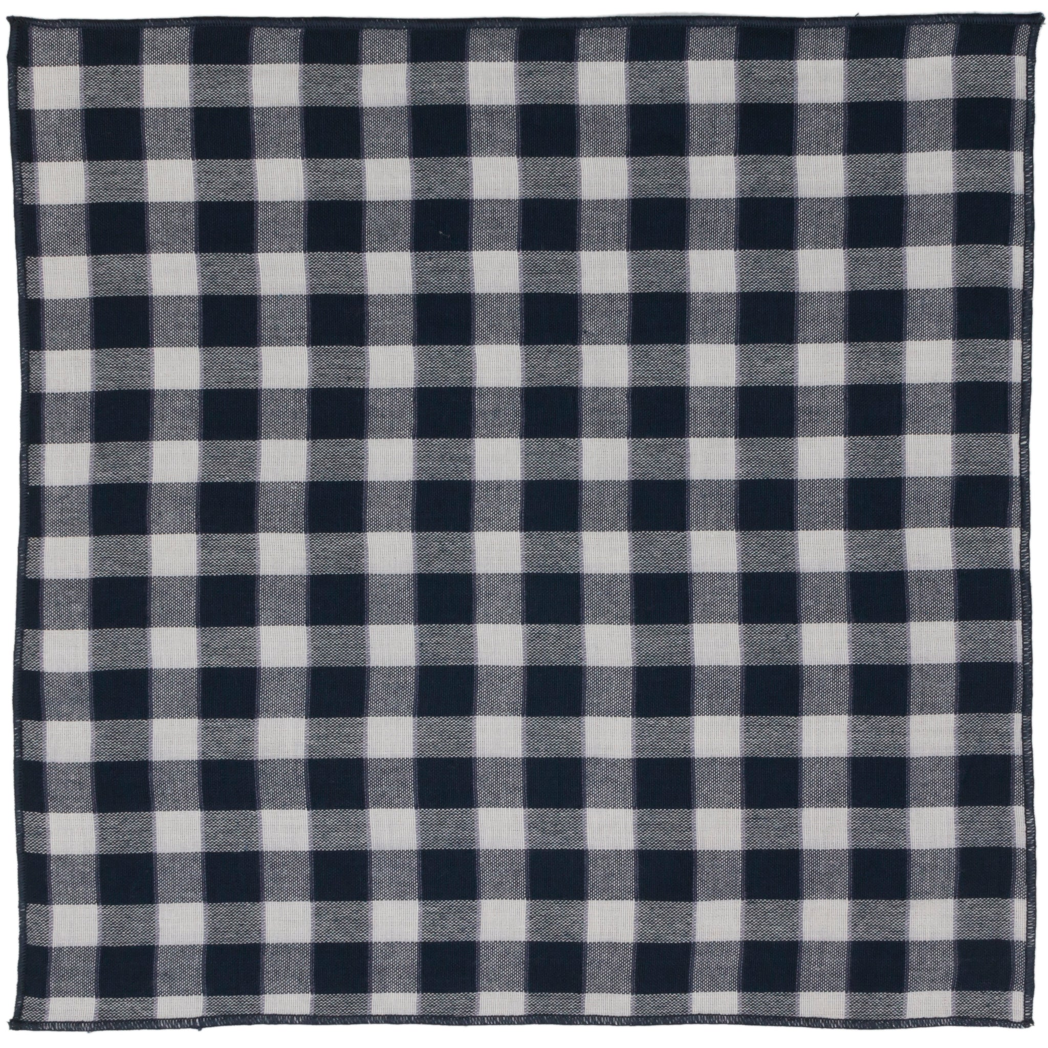 William Blue and White Check Double Gauze Pocket Square Made in Canada