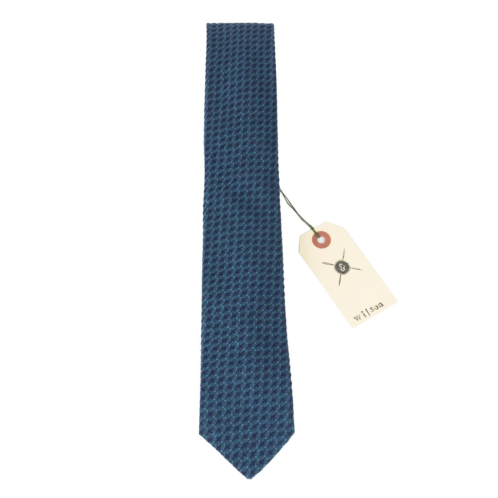 Wilson Woven Blue Cotton Neck Tie Made in Canada