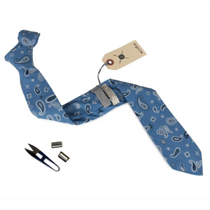 Winston Paisley Blue Cotton Neck Tie Made in Canada