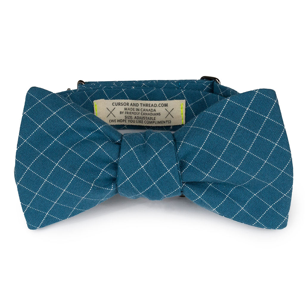 blue check bow tie made in Canada