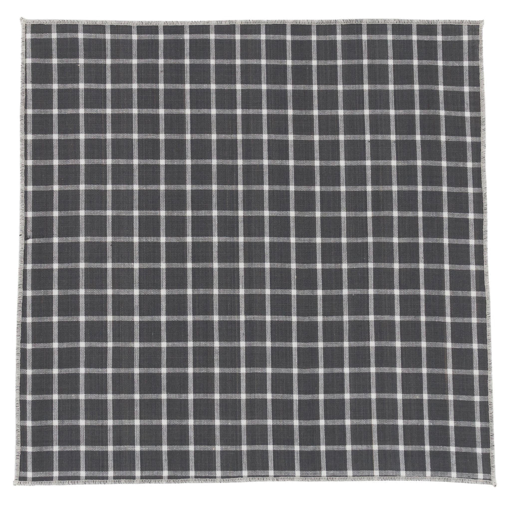 Checked Grey Cotton Pocket Square Made in Canada