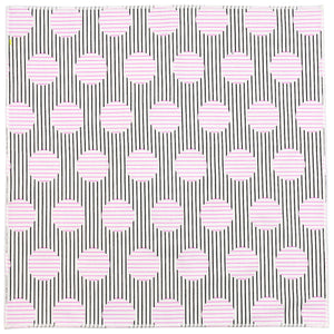 Deco Black, White and Pink Patterned Cotton Pocket Square Made in Canada